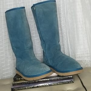 UGG Tall Zip Blue Turquoise Suede Boot Men's Sz12